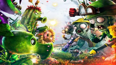 Zombies warfare garden plants vs vs. zombies: wallpaper