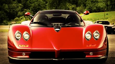 Cars pagani red front view sport wallpaper