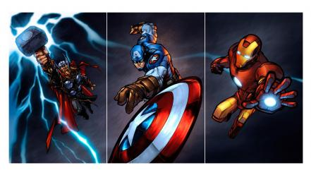 Digital art marvel the avengers mjolnir shields wallpaper