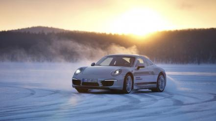Ice snow cars silver driving porsche 911 wallpaper