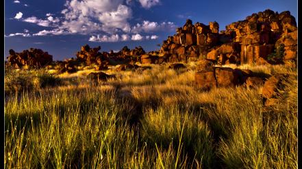 Landscapes nature grass rocks hdr photography Wallpaper