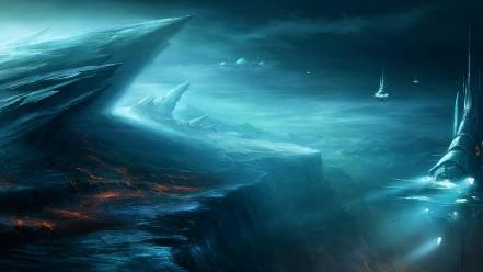 Planets fantasy art spaceships artwork fan Wallpaper