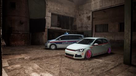 White cars police tuning volkswagen golf Wallpaper