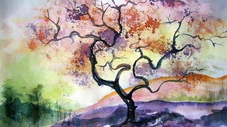 Artwork cherry tree paintings watercolor wallpaper