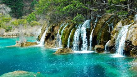 China emerald forests green lakes wallpaper