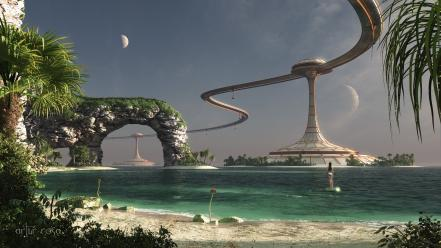 Futuristic fantasy art beach wallpaper