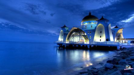 Islam architecture buildings mosques water Wallpaper