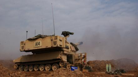 M109a6 round helmand piece 155mm shelling field Wallpaper