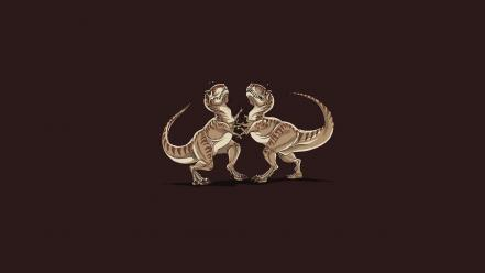 Minimalistic dinosaurs fight funny rex wallpaper