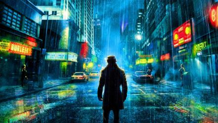 Water watchmen rain rorschach wet silence Wallpaper