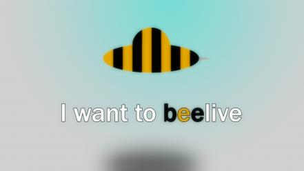 Abstract minimalistic text bees i want to believe Wallpaper