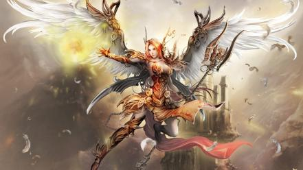 Angels armor artwork cleavage fantasy art wallpaper
