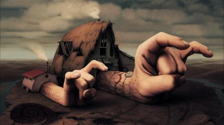 Concept art deserts fingers hands houses wallpaper