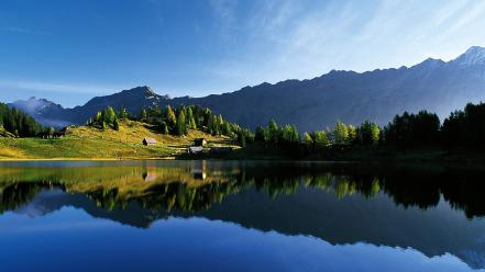 Mountains landscapes nature trees hills lakes reflections wallpaper