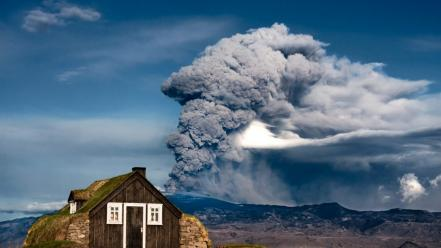 Mountains landscapes nature volcanoes smoke houses eruption wallpaper
