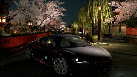 Audi r8 gt5 gran turismo 5 black cars wallpaper