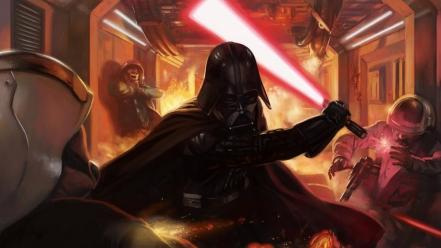 Futuristic lightsabers darth vader science fiction artwork wallpaper