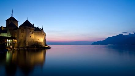 Landscapes nature castles switzerland chillon castle Wallpaper