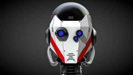 Minimalistic robot head science fiction 3d roboter rendering wallpaper