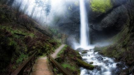Oregon creek falls forests landscapes Wallpaper