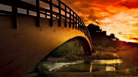Sun bridges rivers sunset wallpaper