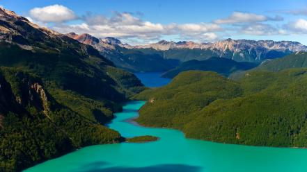 Andes chile patagonia without dams clouds forests wallpaper