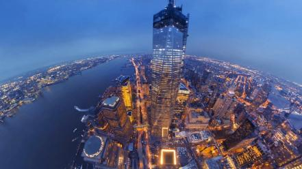 City twilight world trade center architecture buildings wallpaper