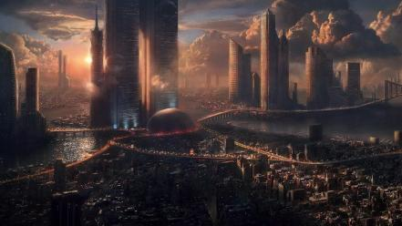 Cityscapes science fiction artwork city skyline futuristic wallpaper