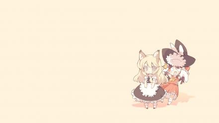 Hakurei reimu kirisame marisa miko touhou animal ears wallpaper