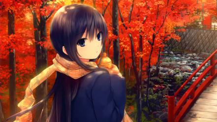 Outdoors scarfs coffee-kizoku red leaf original characters Wallpaper