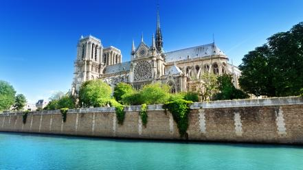 Paris europe cathedral notre dame cities wallpaper