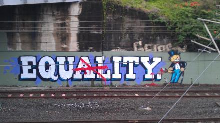Railroad tracks monopoly equality graffiti art wallpaper