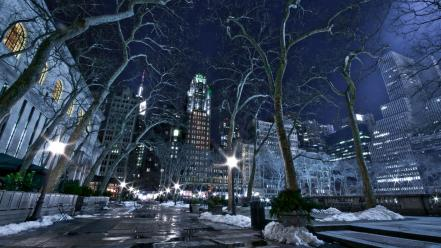 Trees cityscapes new york city wallpaper