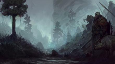 Vikings artwork axes forests trees wallpaper