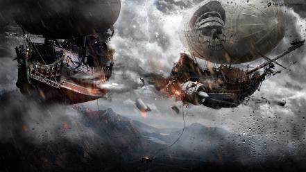 Alexander koshelkov doom speedart action airship wallpaper