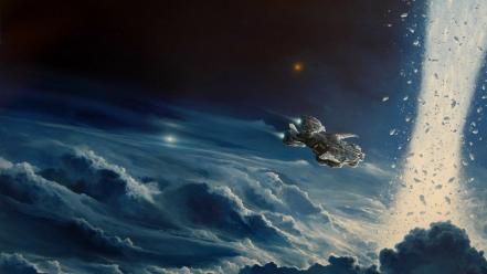 Futuristic outer space science fiction spaceships stars wallpaper