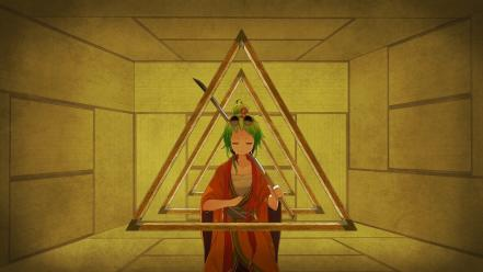 Kimono short hair green megpoid gumi umbrellas Wallpaper