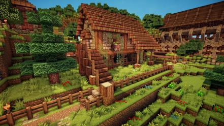 Minecraft houses landscapes video games wallpaper