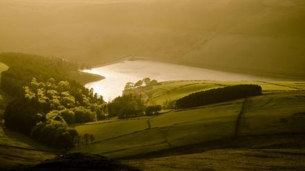 United kingdom reservoir parks national park evening Wallpaper