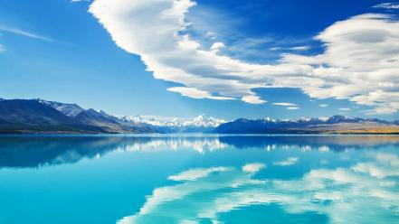 Zealand lakes turquoise snowy peaks natural beauty Wallpaper