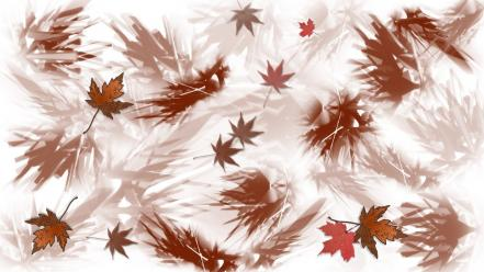 Abstract autumn leaves digital art fallen wallpaper