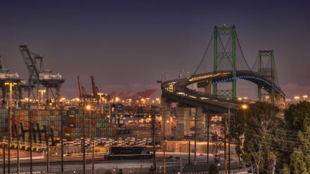 Hdr photography port harbours containers city night wallpaper