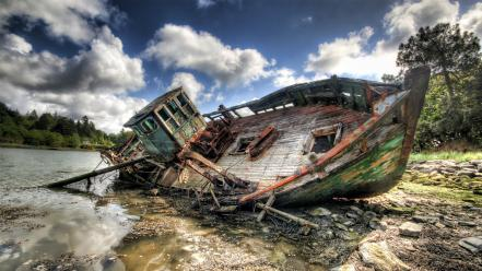Landscapes boats hdr photography sea wreck wallpaper