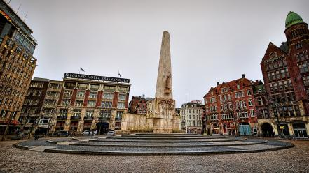 Netherlands monument amsterdam squares wide-angle capital old buildings wallpaper