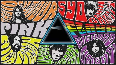 Psychedelic dark side rock collage musicians band wallpaper