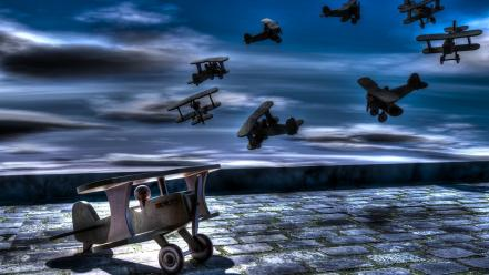 Aircraft surreal hdr photography 3d skies wooden toys wallpaper
