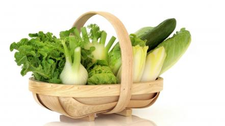Baskets lettuce vegetables wallpaper