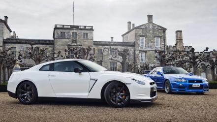 Blue white cars nissan r35 gt-r Wallpaper