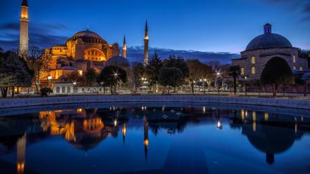 Cityscapes night lights turkey istanbul mosque blue cities wallpaper