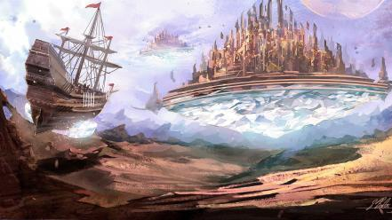 Ships fantasy art artwork floating island cities wallpaper